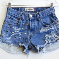 Studded High Waisted Levi's denim shorts W 28