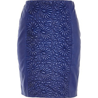 River Island Womens Blue floral embossed leather pencil skirt