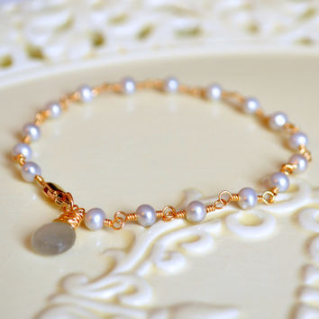 NEW Silver Pearl Bracelet, Gold Filled, Dainty and Delicate, Genuine Grey Freshwater, Wire Wrapped Jewelry, Free Shipping