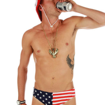 American Flag Nut Huggers Swim Brief