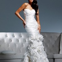 Gorgeous Taffeta Sweetheart Neckline 2 In 1 Wedding Dresses With Handmade Flowers at dressilyme.com