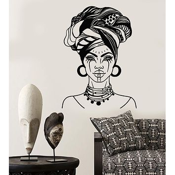 Vinyl Wall Decal African Woman Head Turban Native Fashion Face Tattoos Stickers Unique Gift (2026ig)