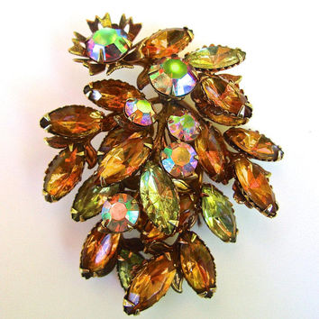 Topaz Rhinestone Cluster Brooch, Rainbow Aurora Borealis, Unsigned Judy Lee, Estate High End, Vintage
