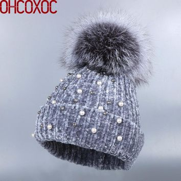 OHCOXOC New Women Beanies Real Fox Fur Pom Poms Ball Cap Keep Warm Beanies Skullies woman fashion Cashmere Winter Hat