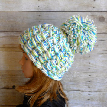 Super Pom Pom Beanie in Winter White Multi, Handknit Hat with Giant Pom Pom, White Green and Blue Chunky Beanie, Chunky Hat for After Ski
