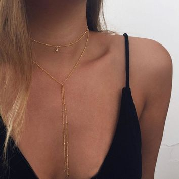 Gold Beaded Lariat