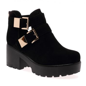 Pip Black Faux Suede Cut Out Double Buckle Boots