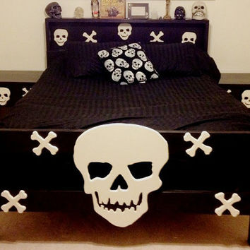 Skull and cross bones solid kiln dried Ponderosa Pine twin bed frame full size bed frame queen size bed frame