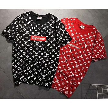 LV LOUIS VUITTON x Supreme Trending Casual Print Round Neck Short Sleeve Tee Tops G-YOYO-FSSH