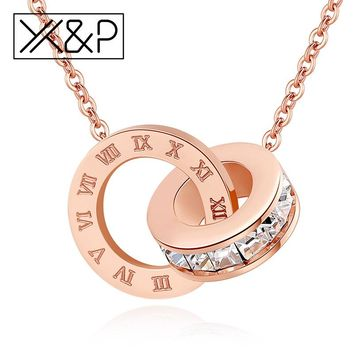 X&P Fashion Luxury Gold Roman Numerals Long Necklace Pendant for Women Girl High Polish 316 L Stainless Steel Necklace Jewelry