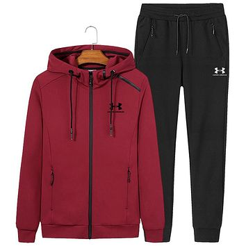 Under Armour autumn and winter new hooded casual long-sleeved trousers sportswear two-piece Red
