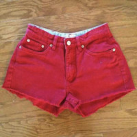 Red Tommy Hilfiger High Waisted Denim Shorts from Charleston Denim Co.