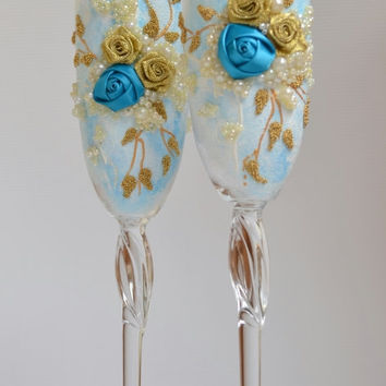 "Personalized Wedding glasses Wedding Flutes collection ""Harmony"" flûtes Something Blue Bohemian glass Champagne anniversary ceremony"