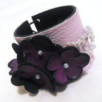 Elegant purple leather bracelet corsage with flowers by julishland