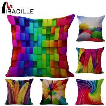 Miracille Square Linen Blend Colorful Geometric Decorative Chair Pillow Modern Cushion For Garden Sitting Filling not included