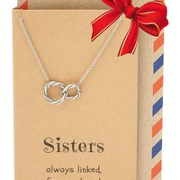 Hailey Sister Quotes Sister Necklaces with Interlocking Circles Pendant