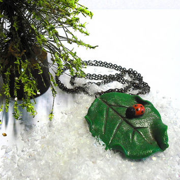 Necklace green leaf and little ladybug handmade modeled in cold porcelain