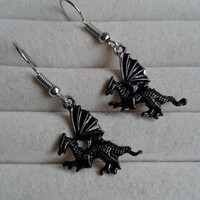 black silvertone dragon  dangle earrings