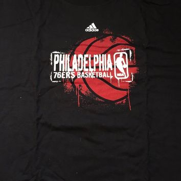 RETRO MEN'S PHILADELPHIA 76ERS BLACK ADIDAS CREWNECK TEE SHIRT SHIPPING