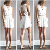 A Dainty White Lace Romper