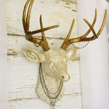 faux deer head faux taxidermy faux deer head wall mount faux - Animal Head Wall Decor