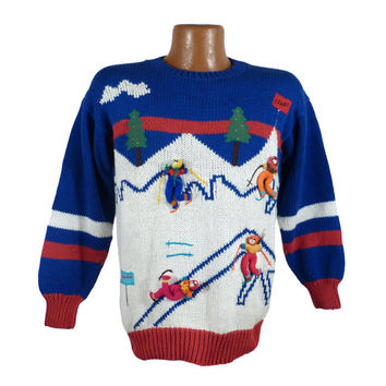 Ugly Christmas Sweater Vintage Acrylic Skier Skiing 3D Party Holiday Tacky size S