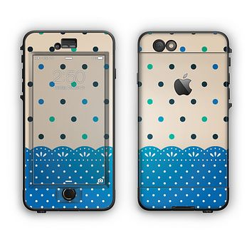 The Tan & Blue Polka Dotted Pattern Apple iPhone 6 Plus LifeProof Nuud Case Skin Set