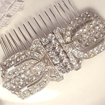 Vintage Art Deco Rhinestone Hair Comb, 1920s Bridal Headpiece, Pave Crystal Heirloom Fur Clips to OOAK Large Hair Accessory Great Gatsby