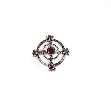 Scottish Kilt Pin, Vintage Purple Rhinestone Brooch
