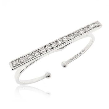 DOUBLE FINGER BAND RING CZ