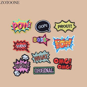 ZOTOONE WOW Letter Patch Set Cartoon Cheap Embroidered Cute Patches Iron On Cool Patches For Clothes Badges Applique Stickers B2