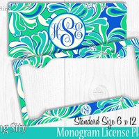 Teal Floral Monogram License Plate Frame Holder Metal Wall Sign Tags Personalized Custom Vanity Country Girl