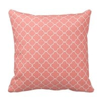 Coral Quatrefoil Pattern Decorative Pillow
