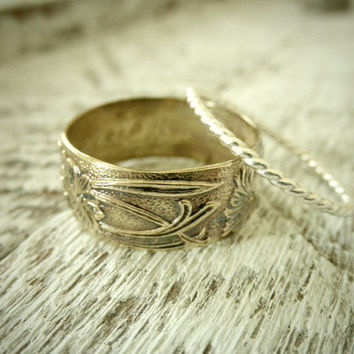 Rustic Art Nouveau 14K Gold Filled Band & Twisted by palefishny