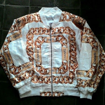 Vintage Chanel Bomber Jacket sz L Gold Luxury 2 Chainz Silk