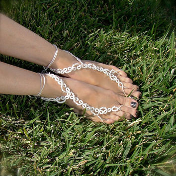 $35.00 The Vine Tatted Lace Barefoot Sandals White by TotusMel