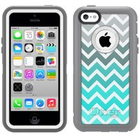 Otterbox Apple iPhone 5C Defender Case Chevron Grey Green Turquoise White