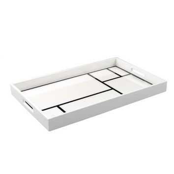 White with Black Grids Lacquer Breakfast Tray