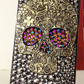 Skull iphone 4 case,punk iphone 5 case,bling iphone 4s case cover