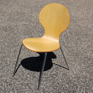 Childs Bentwood and Chrome Chair, Vintage Wood and Chrome Chair, Arne Jacobsen Ant Style Chair, Fritz Hansen, Wood Shell Chair