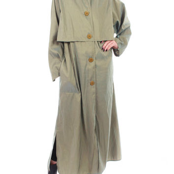 80s Vintage Iridescent Olive Green Tent Coat Maralyce Ferree Oversized Long Futuristic Minimalist Winter 90s Womens Clothing Size XL+