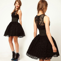Fashion Sexy Black Clubbing Princess Tutu Dress Cocktail Lace Party Dress Slim = 1945676228