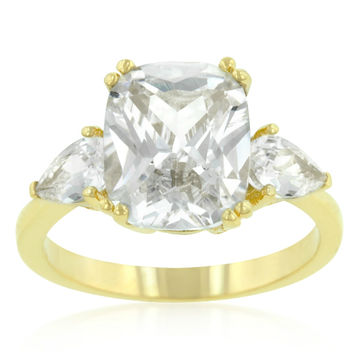 Aurora Tri-Stone Radiant Cut Gold Engagement Ring | 7.7ct | 18k Gold