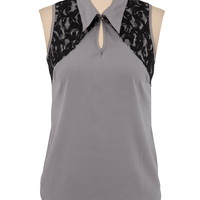 Sleeveless Collared Contrast Lace Blouse