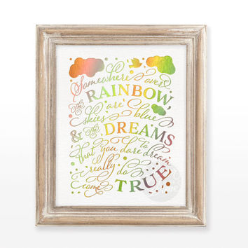 INSTANT DOWNLOAD Rainbow printable art wall holographic foil decor decoration quote, Wizard of Oz print  8x10 | Somewhere over the rainbow