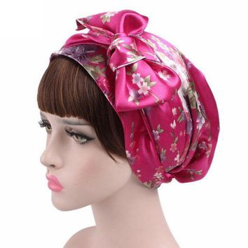 DCCK8JO Women Printed Hat Bowknot Cancer Chemo Hat Beanie Turban Head Wrap Cap Knitted Hats gorros feminino Touca 9 Colors