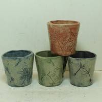 Fairy Shot Glasses set of 4 Handbuilt Stoneware pottery glasses