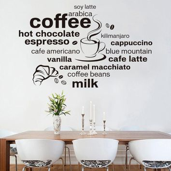 New Design Simple And Stylish English Coffee Pattern Home Decoration Wall Stickers, size 60*90 cm