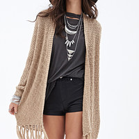 FOREVER 21 Fringed Open-Knit Sweater Beige Medium