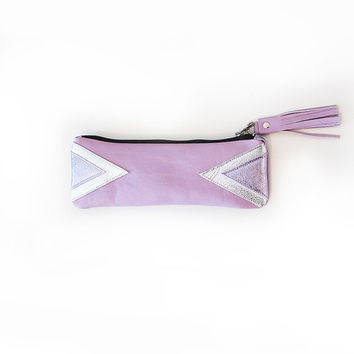 Lavender Holographic Leather Pencil Case // Triangle Pouch // Cosmetic Bag // Metallic Purple Tassel // Artdeco Geometric